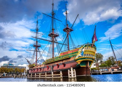 Amsterdam, the Netherlands - Oct. 20, 2014: A full size replica of the 8th-century ship Amsterdam of the VOC, Dutch East India Company, built in 1990 and moored at the Maritime Museum in Amsterdam