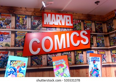 AMSTERDAM, NETHERLANDS - OCT 26, 2016: Marvel comics books, Madame Tussauds wax museum in Amsterdam. One of the popular touristic attractions