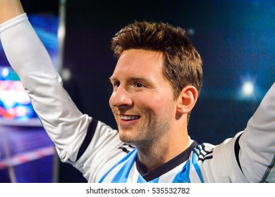 AMSTERDAM, NETHERLANDS - OCT 26, 2016: Leonel Leo Messi, FC Barcelona and Argentina national teap footballer, Madame Tussauds wax museum in Amsterdam. One of the popular touristic attractions