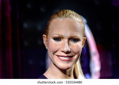 AMSTERDAM, NETHERLANDS - OCT 26, 2016: Gwyneth Paltrow,  American actress, singer and food writer, Madame Tussauds wax museum in Amsterdam. One of the popular touristic attractions