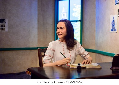 AMSTERDAM, NETHERLANDS - OCT 26, 2016: Anne Frank, Madame Tussauds wax museum in Amsterdam. One of the popular touristic attractions