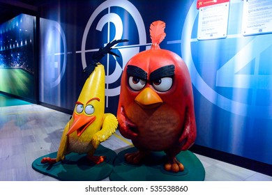 AMSTERDAM, NETHERLANDS - OCT 26, 2016: Angry Birds,  Madame Tussauds wax museum in Amsterdam. One of the popular touristic attractions