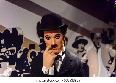 AMSTERDAM, NETHERLANDS - OCT 26, 2016: Sir Charles Spencer Charlie Chaplin, an English comic actor, filmmaker, Madame Tussauds wax museum in Amsterdam. One of the popular touristic attractions