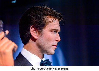 AMSTERDAM, NETHERLANDS - OCT 26, 2016: Pierce Brosnan as James Bond 007 agent,  Madame Tussauds wax museum in Amsterdam. One of the popular touristic attractions