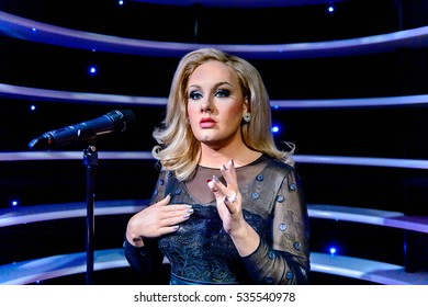 AMSTERDAM, NETHERLANDS - OCT 26, 2016: Adele, Madame Tussauds wax museum in Amsterdam. One of the popular touristic attractions