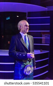 AMSTERDAM, NETHERLANDS - OCT 26, 2016: Sir Thomas Sean Connery, Scottish actor,  Madame Tussauds wax museum in Amsterdam. One of the popular touristic attractions