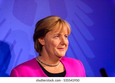 AMSTERDAM, NETHERLANDS - OCT 26, 2016: Angela Merkel, German cancelloe, Madame Tussauds wax museum in Amsterdam. One of the popular touristic attractions