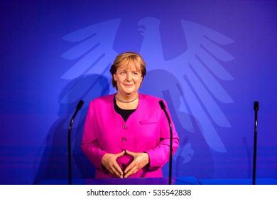 AMSTERDAM, NETHERLANDS - OCT 26, 2016: Angela Merkel, German cancelloe, Madame Tussauds wax museum in Amsterdam. One of the popular touristic attractions
