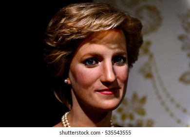 AMSTERDAM, NETHERLANDS - OCT 26, 2016: Princess Diana, Madame Tussauds wax museum in Amsterdam. One of the popular touristic attractions