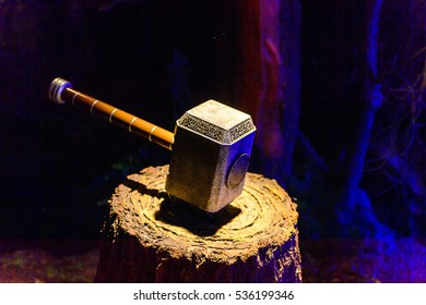AMSTERDAM, NETHERLANDS - OCT 26, 2016: Thor's Hammer, Marvel section, Madame Tussauds wax museum in Amsterdam. One of the popular touristic attractions