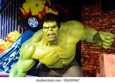 AMSTERDAM, NETHERLANDS - OCT 26, 2016: Hulk, Bruce Benner, Marvel section, Madame Tussauds wax museum in Amsterdam. One of the popular touristic attractions
