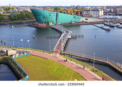 AMSTERDAM, NETHERLANDS - OCTOBER 09: Science Center Nemo  is a science center - located at the Oosterdok in Amsterdam-Centrum ( designed by Renzo Piano since 1997). Netherlands, on October 09, 2014