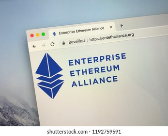 Amsterdam, Netherlands - October 1, 2018: Website of The Enterprise Ethereum Alliance or EEA,  a platform connecting Fortune 500 enterprises and startups with the Ethereum blockchain project.