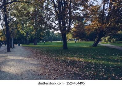 Amsterdam, The Netherlands, October 11, 2018: nice sunny evening at Vondelpark with people enjoying good weather