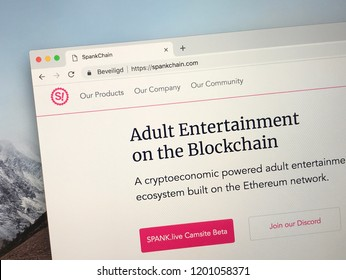 Amsterdam, Netherlands - October 12, 2018: Website of SpankChain, blockchain based payment service platform for the adult industry.