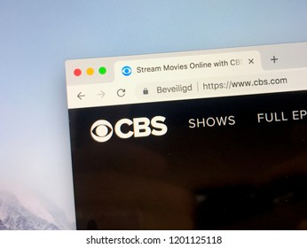 Amsterdam, Netherlands - October 12, 2018: Website of CBS, an American commercial broadcast television and radio network. CNS Stand for: Columbia Broadcasting System.
