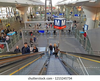 AMSTERDAM, NETHERLANDS - OCTOBER 15, 2018: Passengers traveling at Bijlmer station in Amsterdam the Netherlands