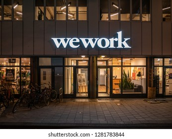 Amsterdam, Netherlands - October 15 2018: The outside of communal working space, Wework in Amsterdam during the evening.
