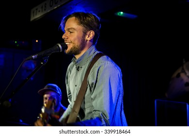 Amsterdam, The Netherlands - October, 17 2015: concert of Swiss rock band 77 Bombay Street during Amsterdam Waterfall Festival at the Waterhole.