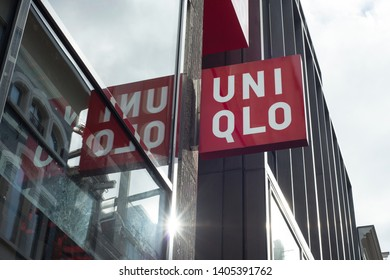 Amsterdam, Netherlands - October 18, 2018: Shopping window of UniQlo a japanese clothing store newly opened in the center of Amsterdam