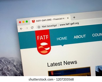 Amsterdam, Netherlands - October 19, 2018: Website of The Financial Action Task Force or FATF, an intergovernmental organization against money laundering.