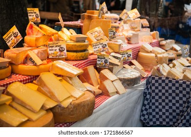 AMSTERDAM, THE NETHERLANDS - October 20, 2019:Cheese at a market in Amsterdam