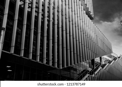 Amsterdam, Netherlands - October 27,2018: Modern architecture at the Zuidas  in black and white