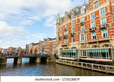 Amsterdam, Netherlands - October 28, 2019: Hotel de l'Europe in Amsterdam, with unidentified people. The Hotel de l'Europe is a 5-star luxury Hotel along the Amstel river