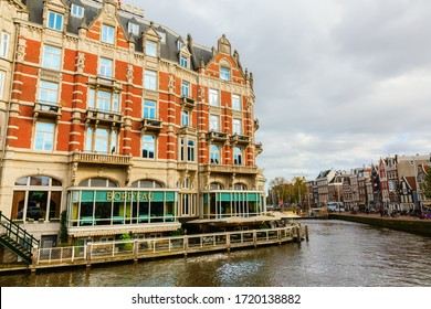Amsterdam, Netherlands - October 28, 2019: Hotel de l'Europe in Amsterdam. The Hotel de l'Europe is a 5-star luxury Hotel along the Amstel river