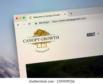 Amsterdam, Netherlands - October 5, 2018: Website of Canopy Growth Corporation, a medical marijuana company