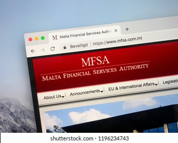 Amsterdam, Netherlands - October 6, 2018: Website of The Malta Financial Services Authority (MFSA), the regulator for financial services activities in Malta.