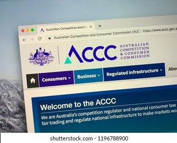 Amsterdam, Netherlands - October 7, 2018: Website of The Australian Competition and Consumer Commission or ACCC, an independent authority of the Australian government.