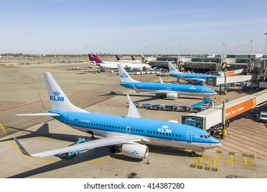 AMSTERDAM, NETHERLANDS on APRIL 1, 2016. Planes expect a departure. View from a survey terrace of the Amsterdam airport Schiphol