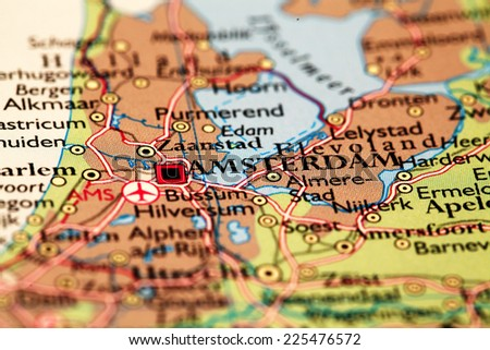 Amsterdam Netherlands On Atlas World Map Stock Photo (Edit Now ...
