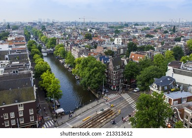 Amsterdam, Netherlands, on July 10, 2014. A view of the city from a survey platform of Westerkerk