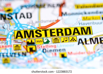 Amsterdam. Netherlands on a map