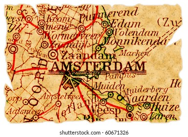 Amsterdam, The Netherlands on an old torn map from 1949, isolated. Part of the old map series.