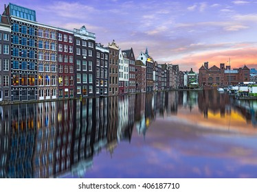 Amsterdam, The Netherlands. Reflection of typical houses in a canal.