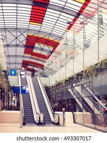 AMSTERDAM, THE NETHERLANDS - SEP 25, 2016: The hall of the bus station in the Amsterdam Centraal. The station opened in 2014, and the building houses many shops and restaurants Instagram-like filter