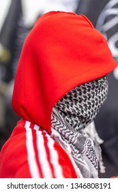 Amsterdam, Netherlands, Sept 16th 2012: Anti Islam Protest - Muslim Man with face covered