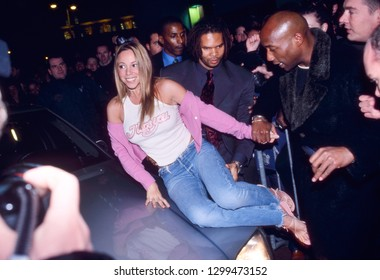 AMSTERDAM, THE NETHERLANDS - SEPT 18, 1999: Mariah Carey arriving at a music store to sign her new album Rainbow and have a meet and greet with her fans. Original photo is a slide.