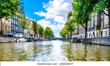 Amsterdam, the Netherlands - Sept 28, 2018: The Prinsengracht (Prince Canal) with it many historic houses in the center of Amsterdam