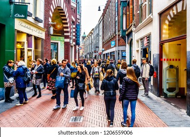 Amsterdam, the Netherlands - Sept 28, 2018: Tourists and locals in the busy Niewendijk shopping street in the historic center of Amsterdam