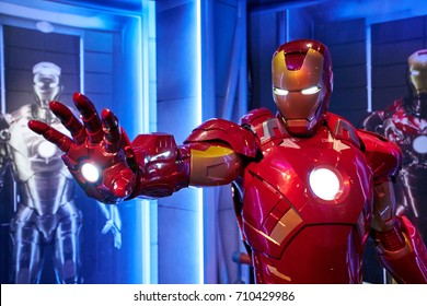 Amsterdam, Netherlands - September 05, 2017: Wax figure of Tony Stark the Iron Man from Marvel comics in Madame Tussauds Wax museum in Amsterdam