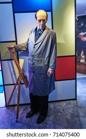 Amsterdam, Netherlands - September 05, 2017: Piet Mondrian, the painter, in Madame Tussauds museum in Amsterdam