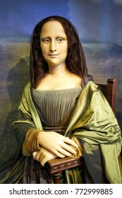 Amsterdam, Netherlands - September 05, 2017: Wax figur of The Mona Lisa or La Gioconda, in Madame Tussauds museum in Amsterdam