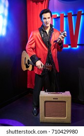 Amsterdam, Netherlands - September 05, 2017:Wax figure of Elvis Presley singer in Madame Tussauds Wax museum in Amsterdam