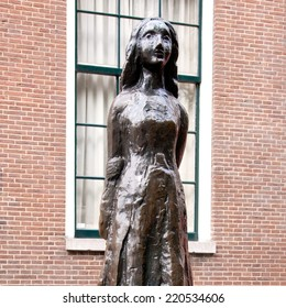 AMSTERDAM - THE NETHERLANDS, SEPTEMBER 10, 2014: Statue of Anne Frank in Amsterdam, Holland, on Sept. 10, 2014 in Amsterdam, Holland.