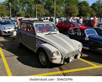 Amsterdam, The Netherlands - September 10, 2016: Grey Citroën Dyane oldtimer on display during Cars & Coffee XXL show. Non-ticketed public event held in the streets of the city.