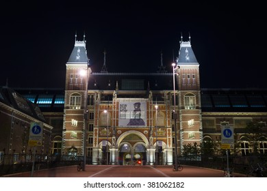 AMSTERDAM, NETHERLANDS - SEPTEMBER 11, 2015: Night view of the Rijksmuseum in Amsterdam